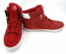 Supra Footwear Shoes Vaider Hi Suede Red/White Sneakers Size 9 EUR 42.5