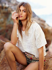122454 New Free People Structured Tee Embroidered Cutout Ivory Blouse Top S