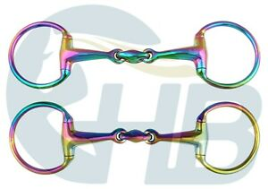 Double Jointed Eggbutt Snaffle Rainbow Bit Stainless Steel