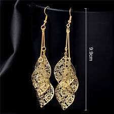 Fashion Women Shiny Earrings Drop Gold/Silver Plated Hollow Leaves Earring