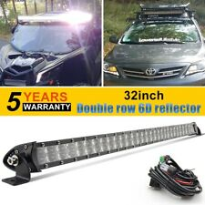 "LED Light Bar 32Inch 31"" 624W Slim Spot Flood Driving Lamp Double Row +wiring"