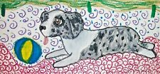 Miniature American Shepherd playing ball Dog Art Print 2.5x3.5 Mini Aussie Ksams