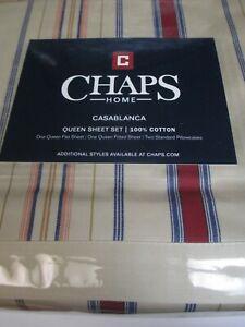 Chaps CASABLANCA Gold Red Blue Multicolor Striped Sheet Set - Queen