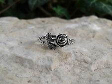 Rose Flower Toe Ring Oxidized Solid Sterling Silver
