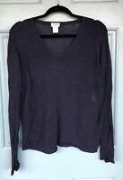 Eileen Fisher Women's Size Medium 100% Wool Sweater Dark Blue V-Neck Long Sleeve