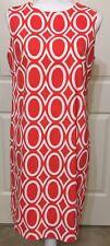 AGB size 10 coral & white geometric sleeveless dress women's career