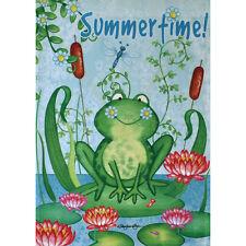 "Summer Time! Frog 28"" X 40"" Porch Flag 10-2776-94 Rain Or Shine Summer Seasonal"