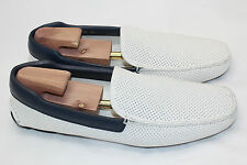$650 PRADA Perforated Driving Shoe White Baltico Leather 12US / 11UK Loafer (H2)
