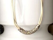 GOLD PLATED CRYSTAL NECKLACE 20 INCH BEIGE ROPE CHAIN GIFT FOR HER ELEGANT