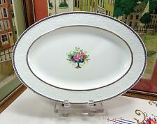 """ANTIQUE ALFRED MEAKIN ENGLAND BLUE URN WITH ROSES & GRAPES 16 1/2"""" OVAL PLATTER"""