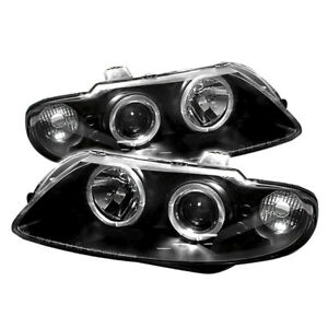 Pontiac 04-06 GTO Black Dual Halo Angel Eye LED Projector Headlights Lamps
