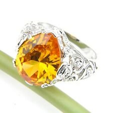 Amazing Water Drop Fire Royal Citrine Gems Silver Rings Size 7-9 Holiday Gift
