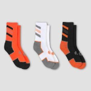 C9 Champion Crew Socks Boys 3 Pack Orange Black White Youth Kids New