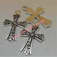 20pc Tibetan Silver CROSS Charm Bead Pendant Jewellery Making wholesale P1346B