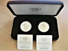 *1993 $20 STERLING SILVER PROOF 2 coin set. Under 20,000 made! SCARCE! Olympics!
