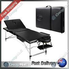 Portable Folding Aluminium Massage Table Chair Bed Black 60cm Wide
