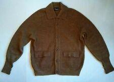 vtg Ingo Grandpa Raglan Sweater XL Cardigan Acrylic Pocket Men Brown Elbow Patch
