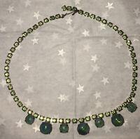 Vintage Green Rhinestone Choker Necklace