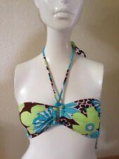 Malibu Dream M Womens Bikini Top Bandeau Halter NWT Brown Blue Separates Medium