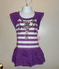South Pole Girls Collection Embellished Ruffle Tunic Top Purple Jewel S/4 NWT