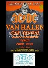 Ac/dc Monsters of Rock Concert Poster Ticket Donington Park UK 1984 A3 Repro