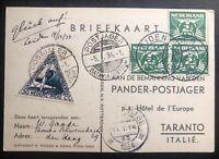 1933 Leiden Netherlands Postcard Airmail Cover To Taranto Italy Via Batavia
