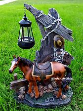 HORSE COWBOY WITH SOLAR LIGHT STATUE SOLAR HORSE COWBOY FIGURINE