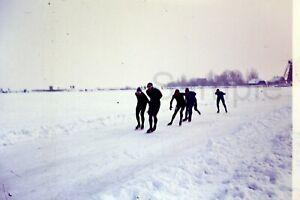 1970s Ice Skating Snow Winter Scenery Netherlands 35mm Slide Vintage D602