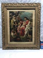 Vtg 1930 Jesus Christ Blessing Little Children Lithograph ORNATE FRAME