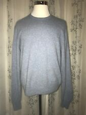 Old Navy 2-Ply 100% Cashmere Heather Blue Crewneck Sweater Long Sleeve Size XL