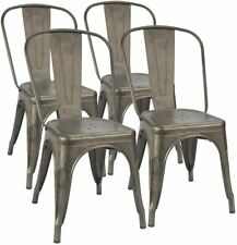 Furmax Metal Dining Chair Indoor-Outdoor Use Stackable Classic Trattoria Chair