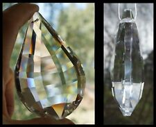 Crystal FACETED DROPLET PRISM 76mm CLEAR TEARDROP PENDANT Suncatcher CHANDELIER
