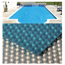 12ft x 24ft Silver / Blue 400 Swimming Pool Solar Cover Covers + FREE Connectors
