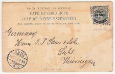 CGH: QV 1d Overprinted Postal Card; Carnarvon to Suhl, Germany, 28 Se-18 Oc 1903