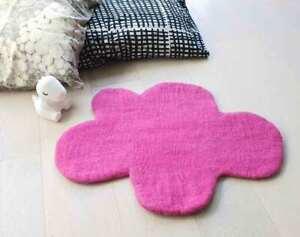 Cloud Rug, BRIGHT PINK Felt Rug, Nursery Baby Rug, Play Mat Kids Girl decoration