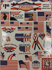 15 Sheets Patriotic AMERICAN FLAG Stickers 4th of July Removable Red White Blue