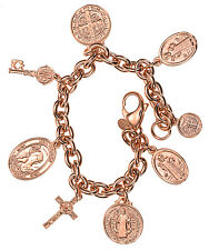 "Bronzo Italia Saint Benito Rolo Link Charm Rose Bronze 8""Long Bracelet"