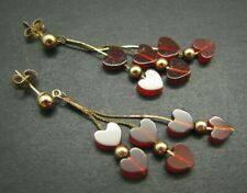 14K YELLOW GOLD Chain Dangles RED RUBY HEARTS Valentines! DROP CHANDELIER Mint!