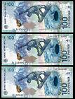 * SOCHI Olympic 2014 100 Rubles Russia UNC set of 3 bill prefix аа aA АА