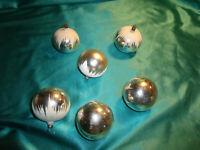 ~ 6 alte Christbaumkugeln Glas silber weiß Sand Schneedach Weihnachtskugeln CBS