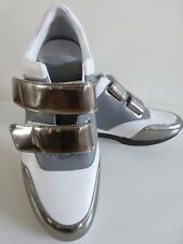 MaxMara Trainers Scarpe pelle Bianco Argento/Leather Shoes White Silver EU39