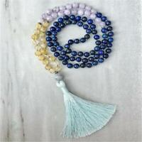 8mm 108 Lapis lazuli Amethyst Citrine Gemstone Mala Necklace spirituality