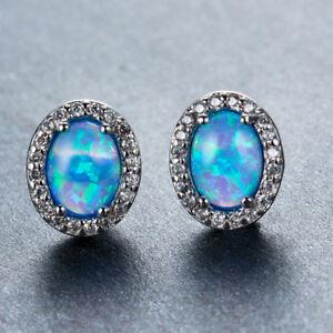 Handmade Jewelry Vintage Oval Blue Fire Opal Gemstone Woman Stud Hook Earrings