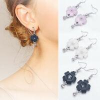 1 Pair Elegant Women Flower Petals Rhinestone Dangle Drop Hook Earrings Jewelry