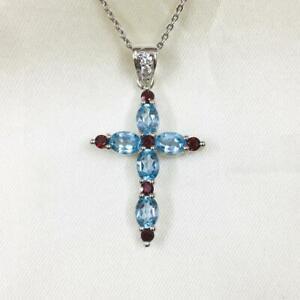 "3ct Oval Aquamarine & Red Garnet Womens Cross 18""Chain Pendant 14k White Gold FN"