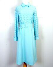 vtg 60s Montgomery Ward Light Blue Sheer Crepe Design Formal Prom Dress 15 jr.
