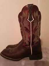 ARIAT ATS (UK 4.5M/EU 37.5/US 7B) Brown Leather Square Toe Cowboy Boots Cowgirl