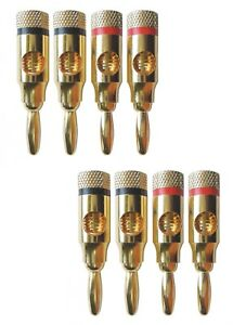 8 x Banana Plug AudioPro Connectors 4mm Fits Speaker Cable HiFi Amplifier Wire