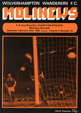 1975/76 Wolverhampton Wanderers v Charlton Athletic, FA Cup, PERFECT CONDITION