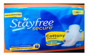 Stayfree Secure Cottony Soft Cover Regular Sanitary Napkins with Wings 60 Pads